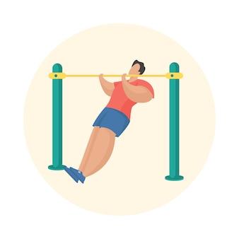 Homme faisant des tractions. équipement de fitness en plein air. personnage de dessin animé masculin se tirant sur la barre horizontale. entrainement sportif. illustration vectorielle plane