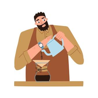 L'homme fait du café de ses propres mains. préparation du café. machine à café. illustration de plat de vecteur isolé sur fond blanc.