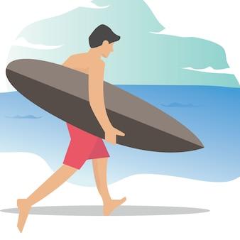 Un homme fait du surf illustration