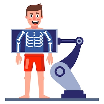Un homme fait une radiographie de sa poitrine