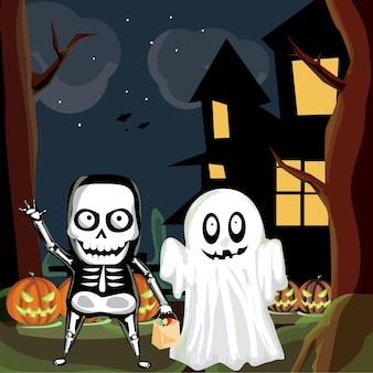 Homme et fantôme de crâne d'halloween