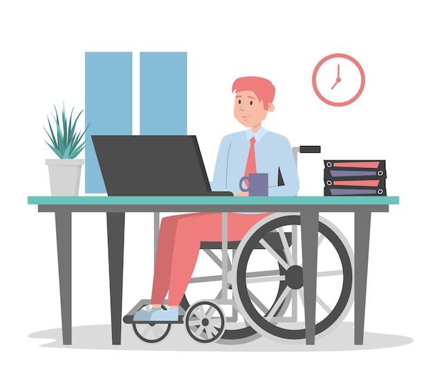 Homme en fauteuil roulant travaillant au bureau isolé