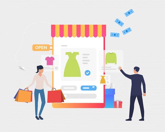 Homme et femme achetant des vêtements en ligne