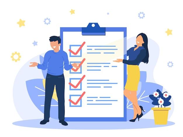 Un homme et une femme d'affaires positifs indiquent la direction indiquée par une liste de contrôle sur du papier tableau. réussir les missions commerciales. illustration vectorielle plane. eps
