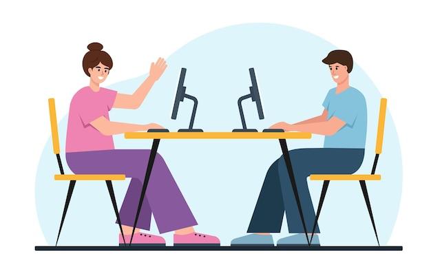 Homme et femme d'affaires travaillant ensemble au bureau.