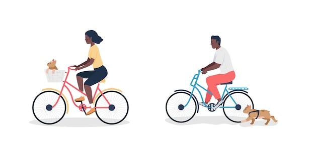 Homme et femme afro-américains à vélo avec un jeu de caractères plat détaillé pour chiens.