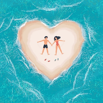 Homme et femme allongée sur une île de sable blanc en forme de cœur entouré par la mer