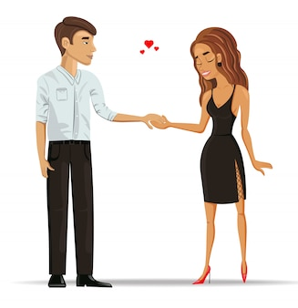 Homme et femme amoureux tenant par la main