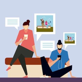 Homme et femme assis partageant des photos avec des smartphones, des personnes et des gadgets vector illustration