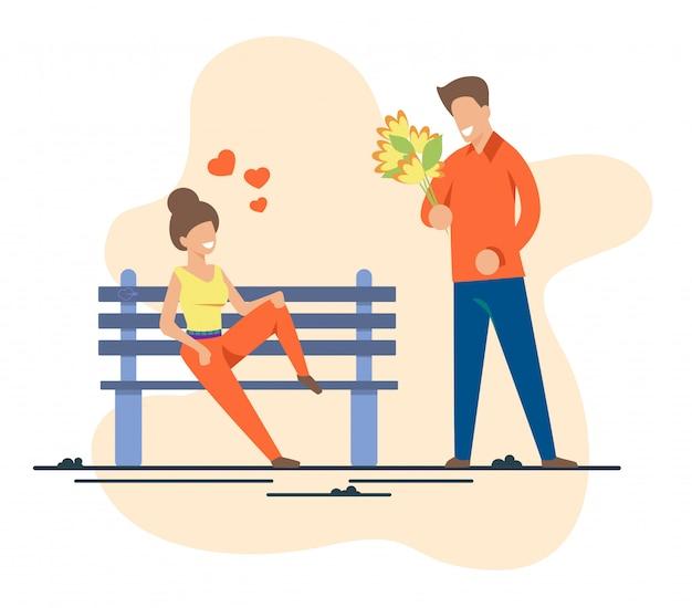 Homme et femme au premier couple dans un parc