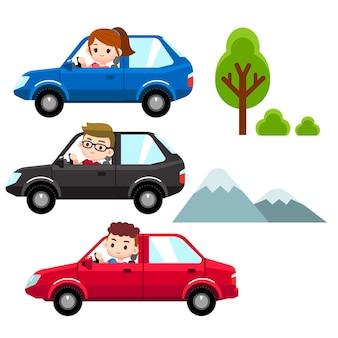Homme, femme au volant de différentes voitures
