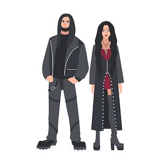 Homme et femme aux longs cheveux lâches vêtus de vêtements en cuir noir isolés
