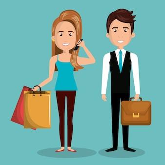 Homme et femme de bande dessinée travaillent et achètent
