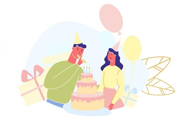 Homme et femme célèbrent le vecteur de fête d'anniversaire