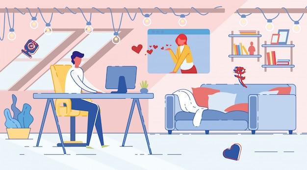 Homme et femme communiquent dans rencontres chat en ligne.