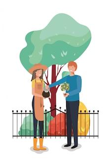 Homme femme et concept de jardinage