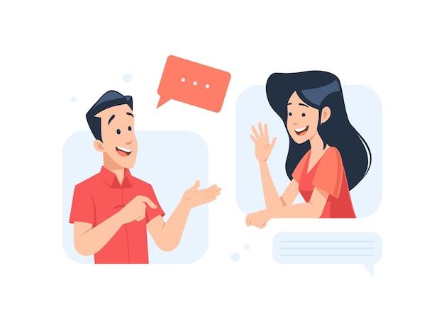 Homme et femme, conversation, concept, illustration, dans, plat, conception