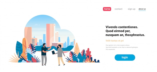 Homme femme couple, communiquer, sur, gratte-ciel ville, vue, paysage urbain, fond, horizon, plat, horizontal, copie, espace