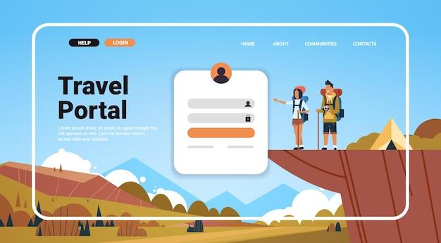 Homme femme couple randonnée dans les montagnes site web modèle de page de destination portail de voyage concept d'aventure de voyage