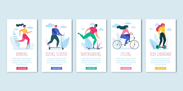 Homme, femme, cyclisme, skateboading, course, scooter