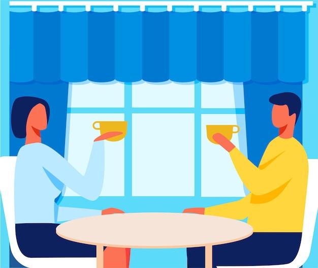 Homme et femme dans le café à la date de dessin animé romantique
