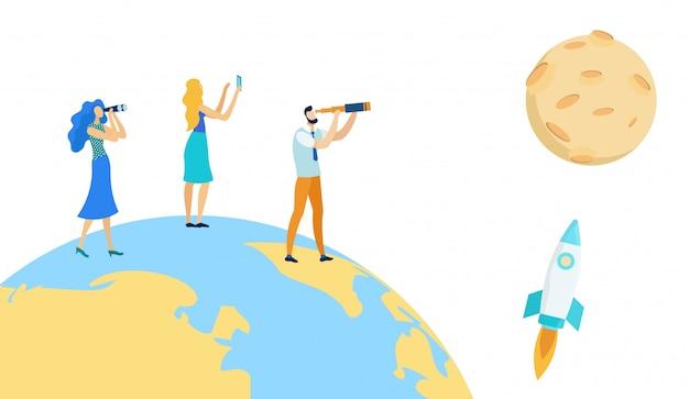 Homme, femme, debout, sur, terre, regarder, fusée