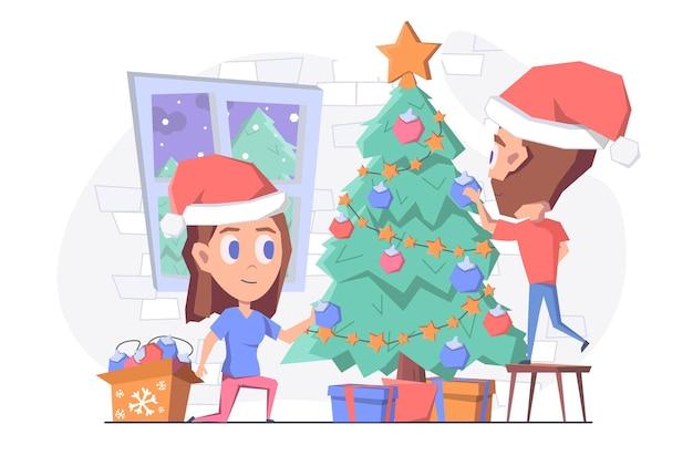 Un homme et une femme décorant le sapin de noël avec des jouets