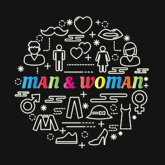 Homme et femme dégradé coloré avec jeu d'icônes de ligne