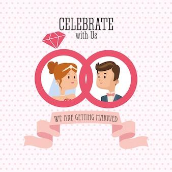 Homme et femme dessin animé couple à l'intérieur des anneaux avec l'icône de ruban