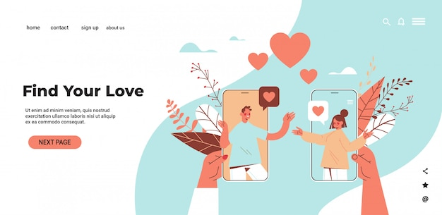 Homme femme discutant en ligne mobile dating app couple discutant lors de réunion virtuelle relation sociale communication concept illustration de l'espace copie horizontale