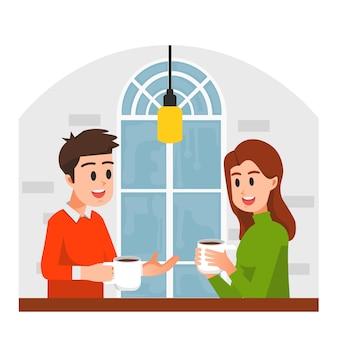 Homme et femme discutant tout en appréciant le café