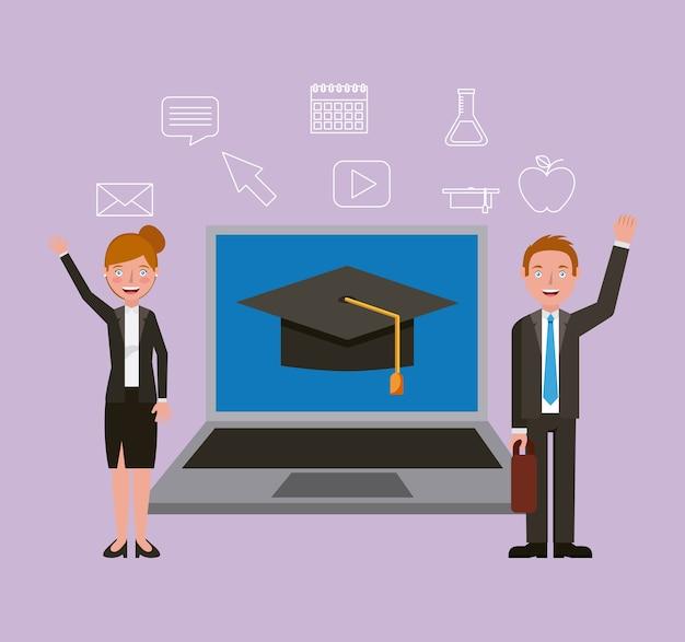 Homme et femme, enseignement en ligne, apprentissage, vecteur, illustration