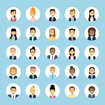 Homme et femme ensemble d'avatars homme d'affaires et femme d'affaires profil avatar collection user image male female face