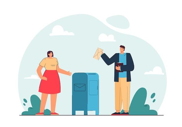 Homme et femme envoyant des lettres illustration