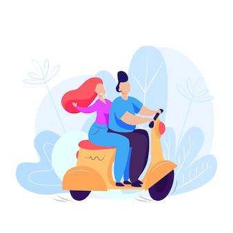 Homme, femme, équitation, scooter