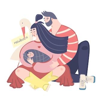 Homme et femme étreignant l'enfant.