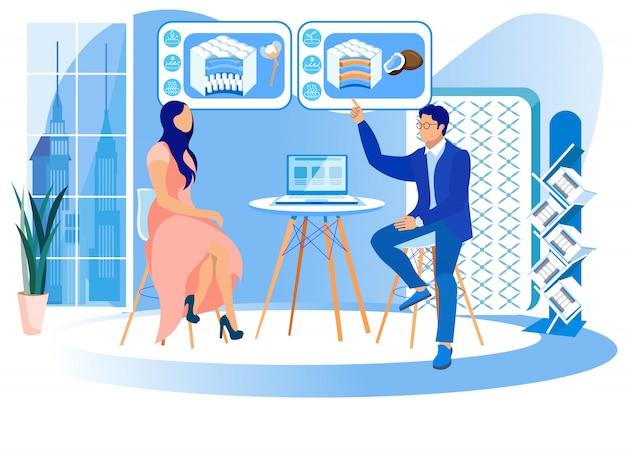 Homme et femme étudient la technologie des matelas.