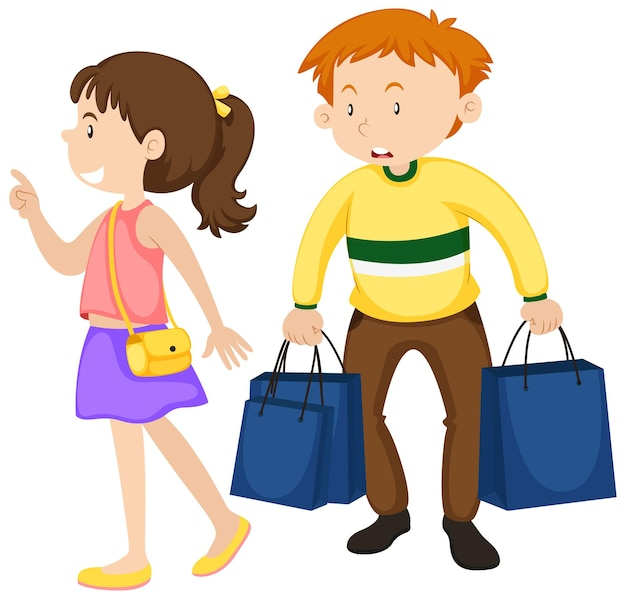 Homme et femme faisant du shopping