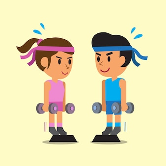Homme et femme faisant exercice de levage de mollet haltère debout