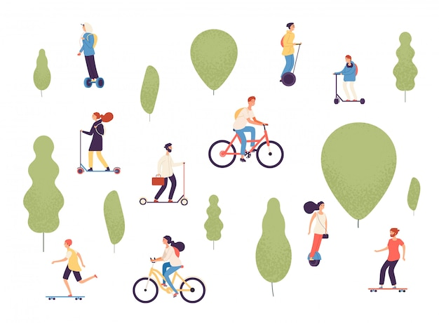Homme, femme, gosses, équitation, véhicules électriques, vélo