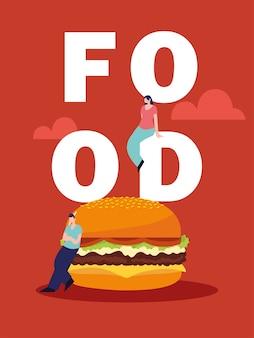 Homme et femme avec illustration de texte burger et nourriture