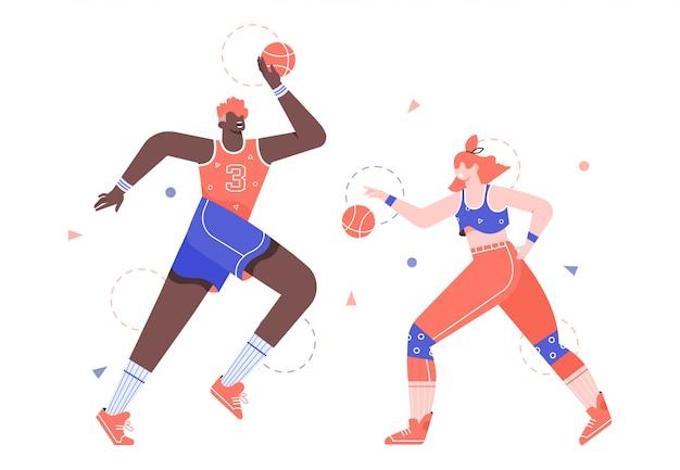 L'homme et la femme jouent au basket. sport et mode de vie sain. jeu d'équipe.