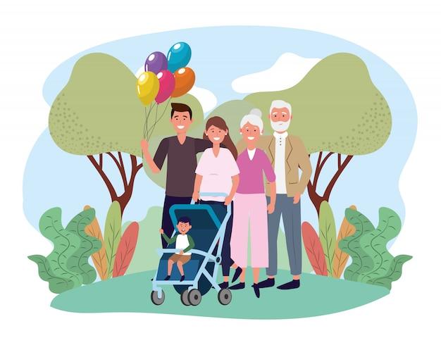 Homme et femme avec leur fils et leurs parents