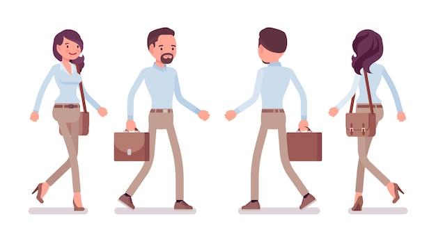 Homme et femme marchant au design plat