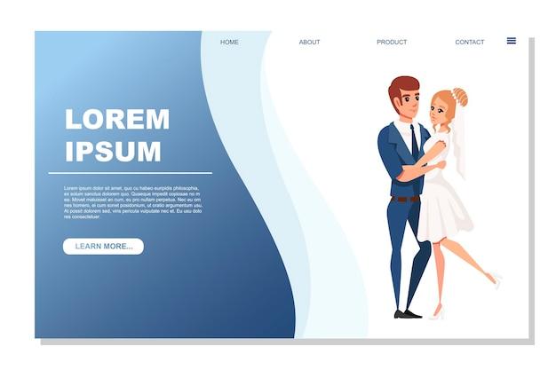 Homme et femme mariage amoureux serrant illustration vectorielle de couple sur fond blanc