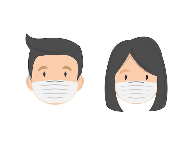 Homme et femme en masque médical isolé