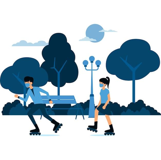 Homme et femme masqués jouent ensemble au roller skare à l'illustration du parc
