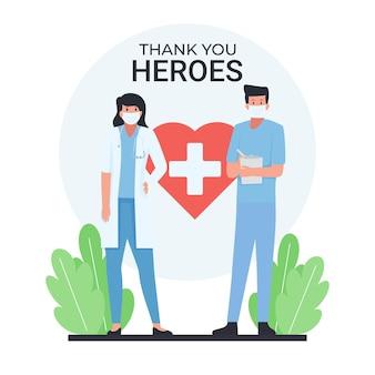 Homme et femme médecin debout avec texte de remerciement