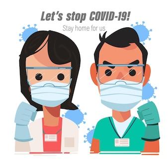 Homme et femme médecin montrant la main du poing pour lutter contre le virus
