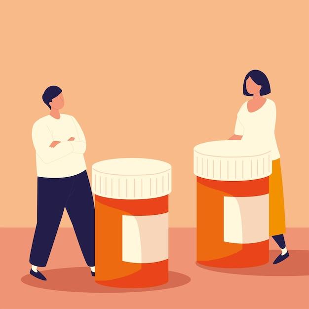Homme femme avec médicament